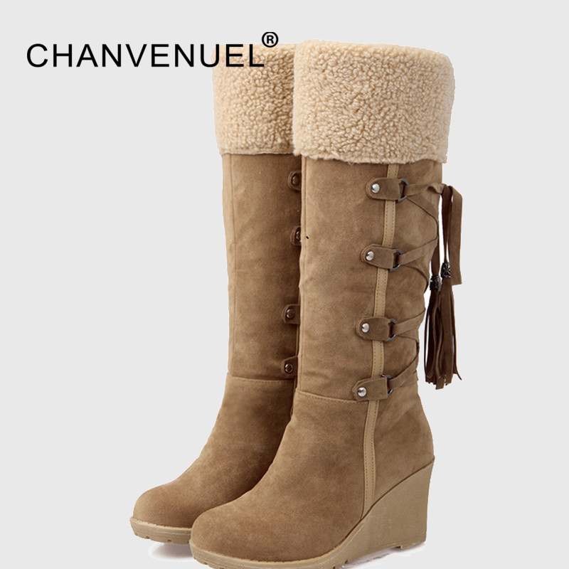 Fashion Scrub Plush Snow Boots Women Wedges Knee-high Slip-resistant Boots Thermal Female Cotton-padded Shoes Warm Winter