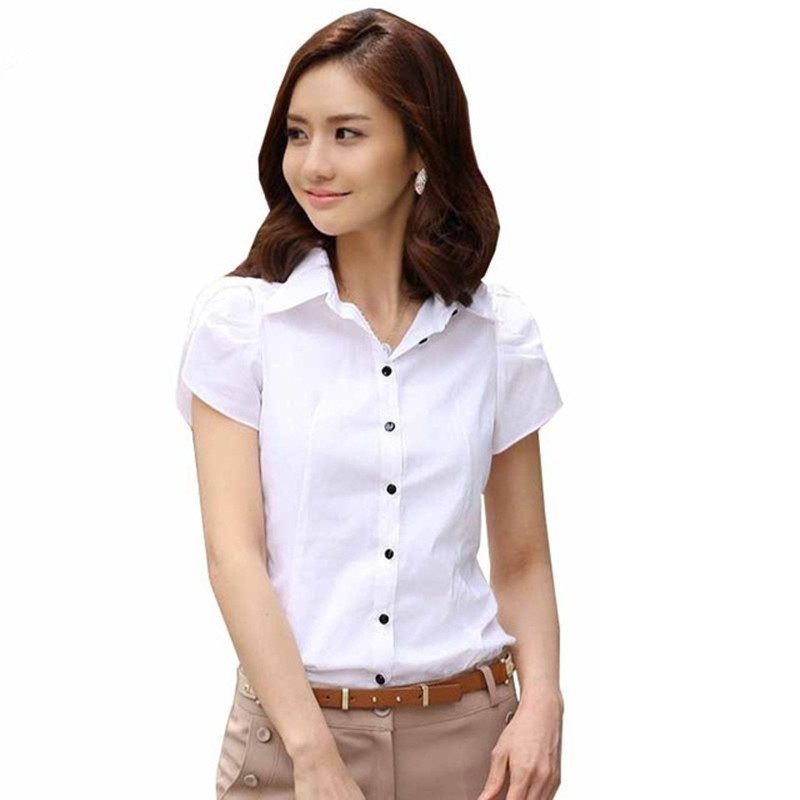 58abb349ed De las mujeres de la moda manga corta Camisa Chiffon Collar Casual ...