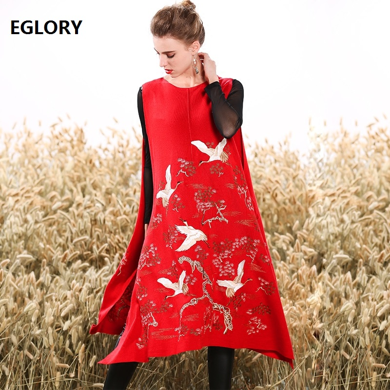 New Luxury Women's Knit Dress Spring Autumn Exquisite Floral Birds Embroidery Loose Fit Split Side Wool Sweaters Knitted Dress floral print split side dress