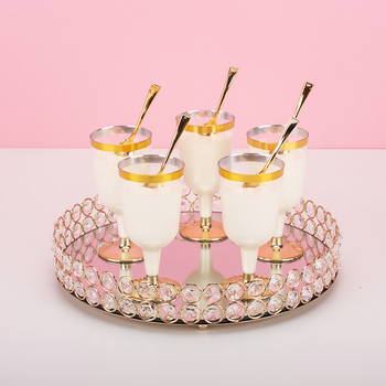 Round Mirror Tray Crystal Edge Plate Cupcake/ Make Up Receiving Pallet 10inch/12inch Home Decoration Cake Table Decorating
