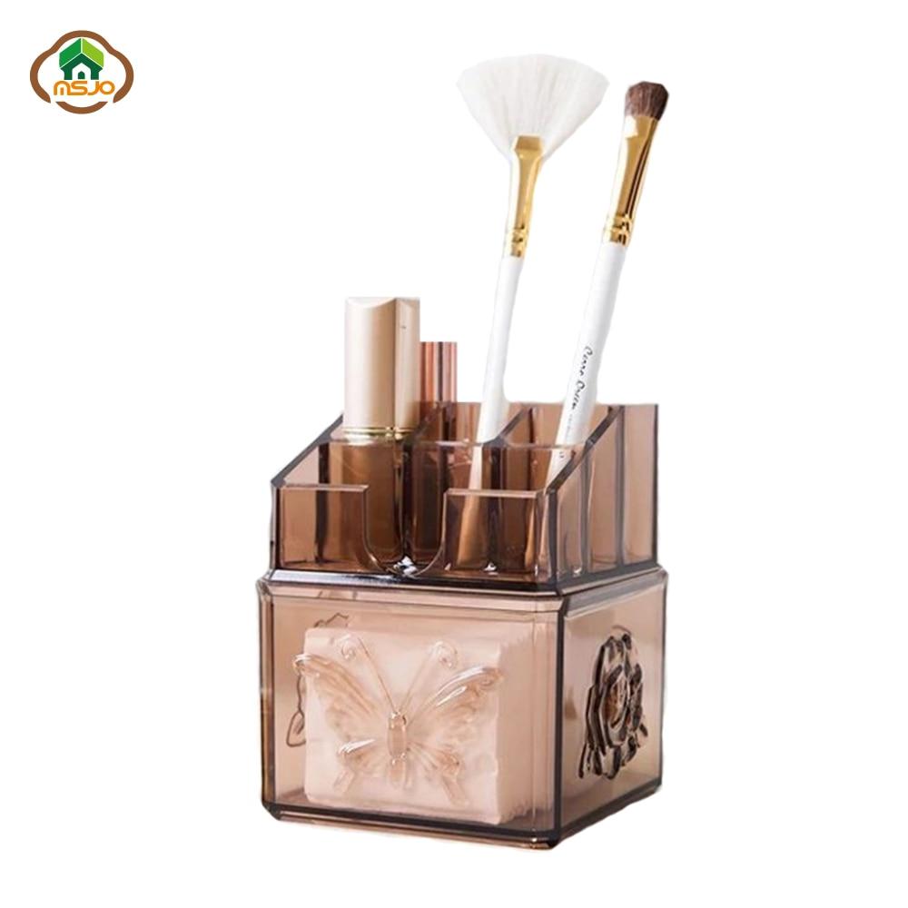 Msjo Makeup Organizer Box Cotton Swab Storage Box Portable Container Drawer Desk Bathroom Makeup Brush Lipstick Holder makeup organizer box