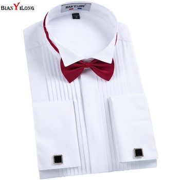 BIANYILONG Men French Cuff links Shirt 2018 New Men Shirt Long Sleeve Casual Male Brand Shirts Slim Fit  Swallow Tail Dress Tuxedo Shirts