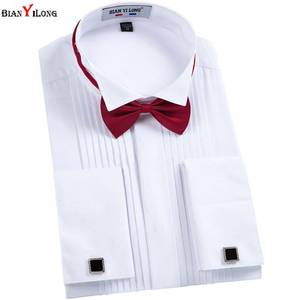 BIANYILONG Men Shirt Swallow-Tail-Dress Slim-Fit Long-Sleeve Casual New French Male Cuff-Links