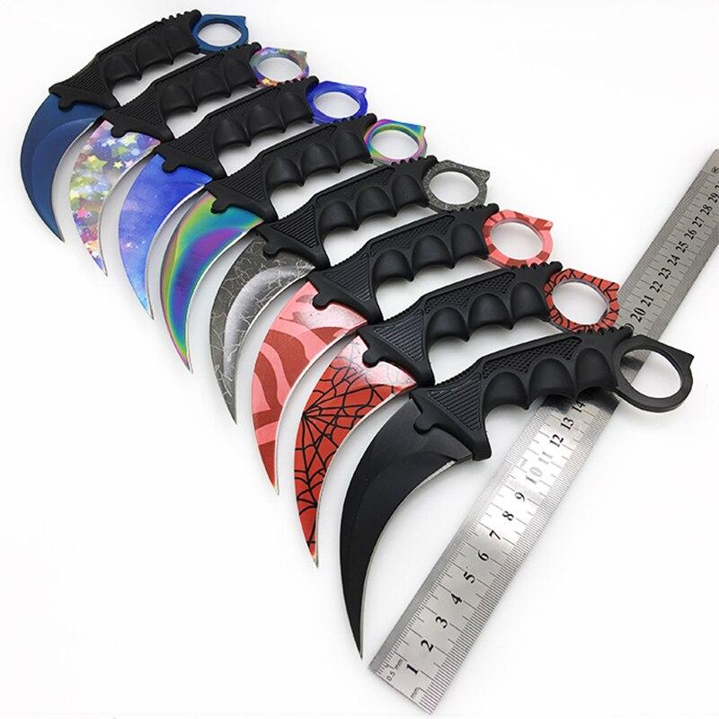Karambit cs go lâmina fixa faca nunca desvanece-se contra greve de combate facas garra sobrevivência acampamento edc ferramentas cosplay