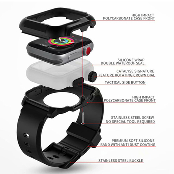 Protective case+Strap for Apple Watch 44mm/40mm Iwatch 5 4 3 bracelet wrist belt clock watchbands + waterproof Protective cover