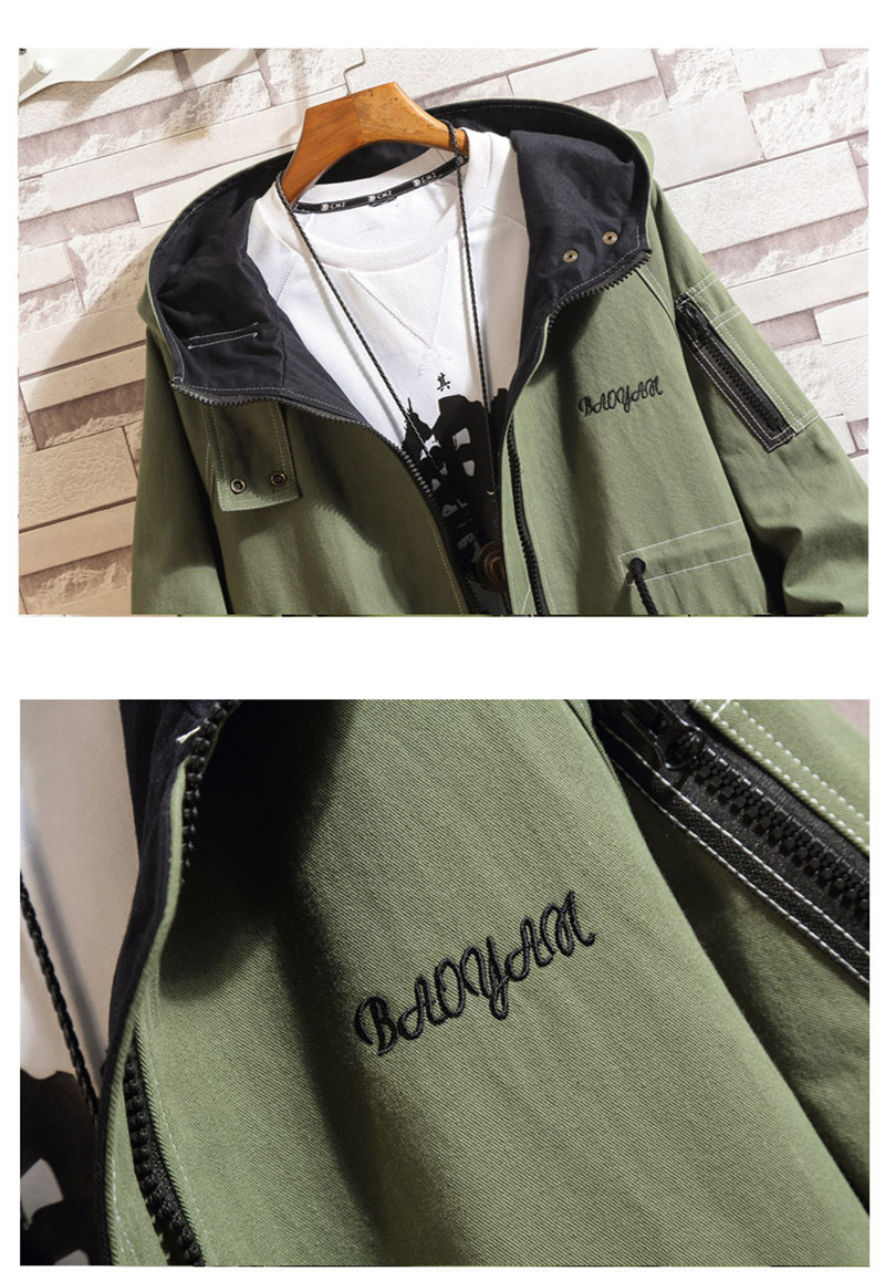 Army Green Trench Coat Men Korean Style Fashion Clothing Male Hooded Trench Coat Jacket   (20)