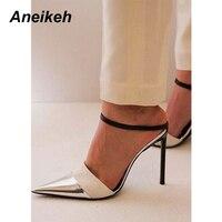 Aneikeh/женские блестящие туфли-лодочки из искусственной кожи с пряжкой на ремешке, пикантные модельные туфли на очень высоком каблуке с вырез...