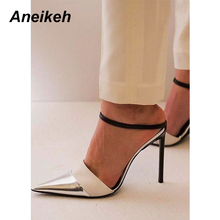 Aneikeh Women Bling Bling PU Buckle Strap Pumps Design Sexy Dress Super High Heel Cut out Shoes Ladies Party Dress Shoes
