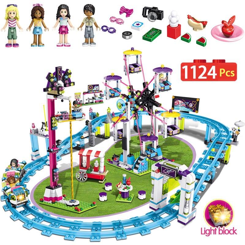 1124 pcs Filles Blocs Compatible LegoINGLY Amis 41130 Parc D'attractions Roller Coaster Figure Modèle de Construction Jouets Hobbie Enfants