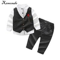 Xemonale خريف جديد الصبي ملابس الأطفال ملابس الربيع طويلة الأكمام قميص + سترة + السراويل وسيم شهم دعوى الملابس مجموعة 3 قطع