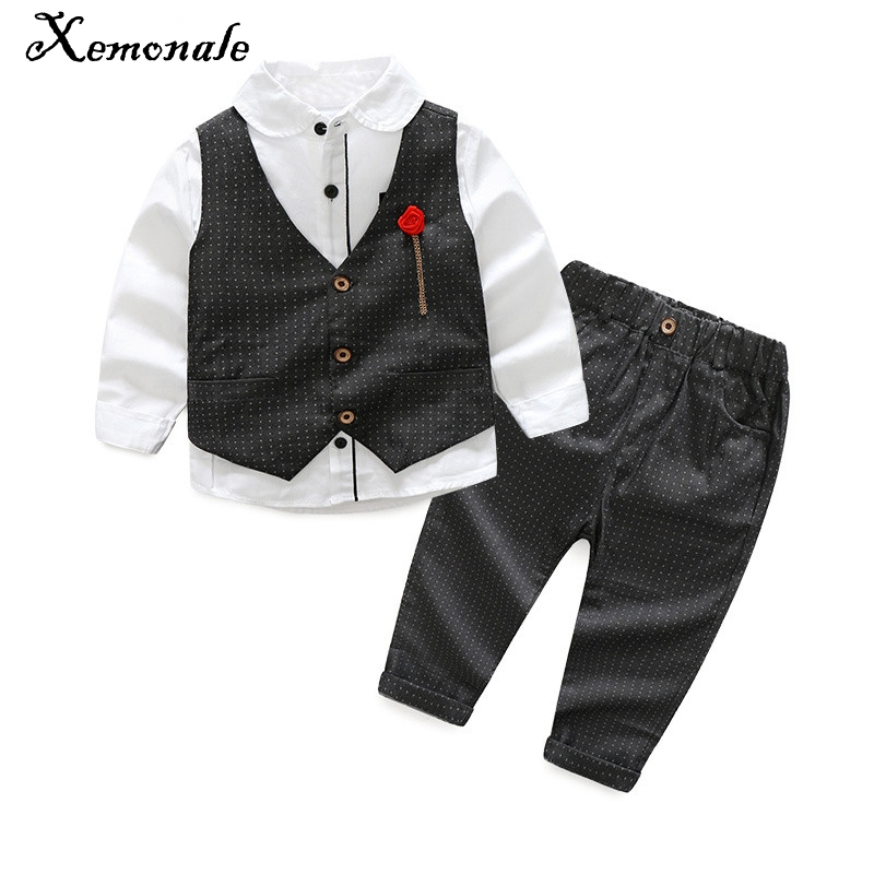 Xemonale Childrens Clothing Spring Autumn New Boy Clothes Long Sleeve Shirt+Vest+Pants Handsome Gentleman Suit Clothing Set 3pcs baby boy clothes suits vest plaid shirt pants 3pcs set party formal gentleman wedding long sleeve kid clothing set free shipping