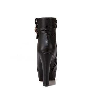Image 2 - WETKISS 2020 ฤดูหนาวรองเท้าส้นสูงข้อเท้ารองเท้าผู้หญิงรอบ Toe รองเท้าคริสตัล Pu หญิงรองเท้าแพลตฟอร์มฤดูหนาว Boot ขนาดใหญ่ 34 50