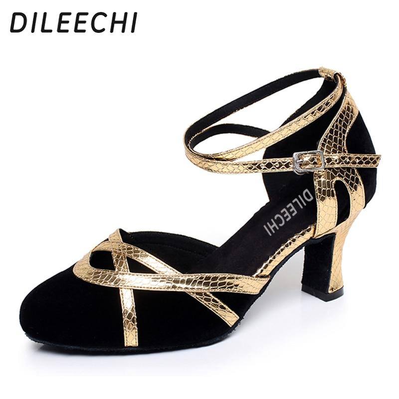 women/'s velvet Genuine leather Latin dance shoes high heels 8.5cm adult shoes