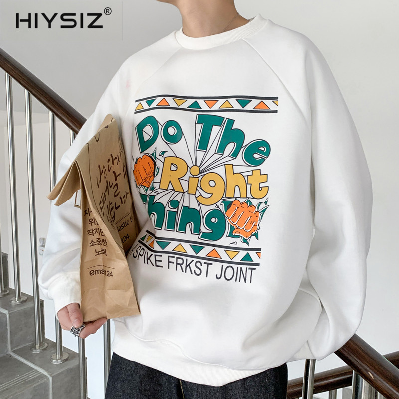 HIYSIZ 2019 New Autumn Spring Streetwear Graffiti Print Sweet Fashion Casual Couple Lovers Round Collar Hoodie Sweatshirts ST474 in Hoodies amp Sweatshirts from Men 39 s Clothing