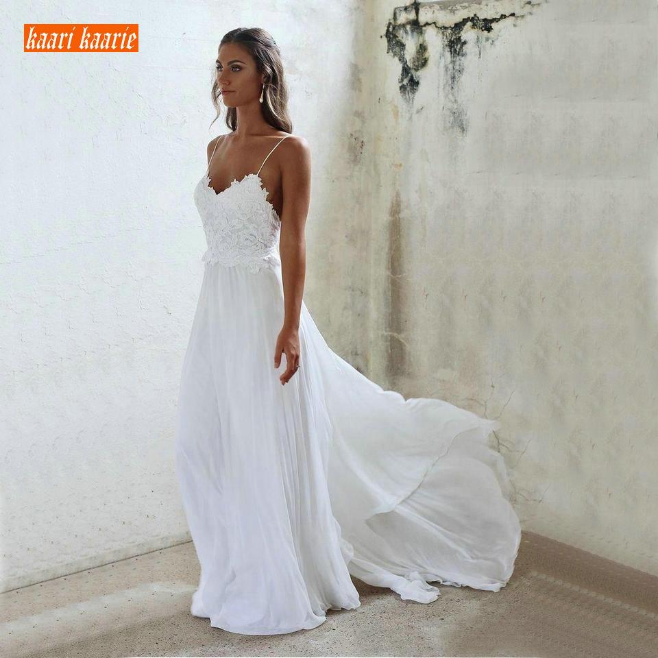 Elegant BOHO White Wedding Dress Long 2019 Ivory Wedding Gowns Women Party Sweetheart Chiffon Lace Appliques Sexy Bridal Dresses