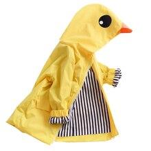 Children raincoat Boy Girl Duck Raincoat Cute Cartoon Hoodie Zipper Coat Outfit yellow waterproof coat