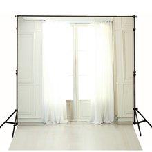 Janela com Cortina Branca Fotografia Fundos pano de Vinil de Alta qualidade Computador impresso pano de fundo de casamento