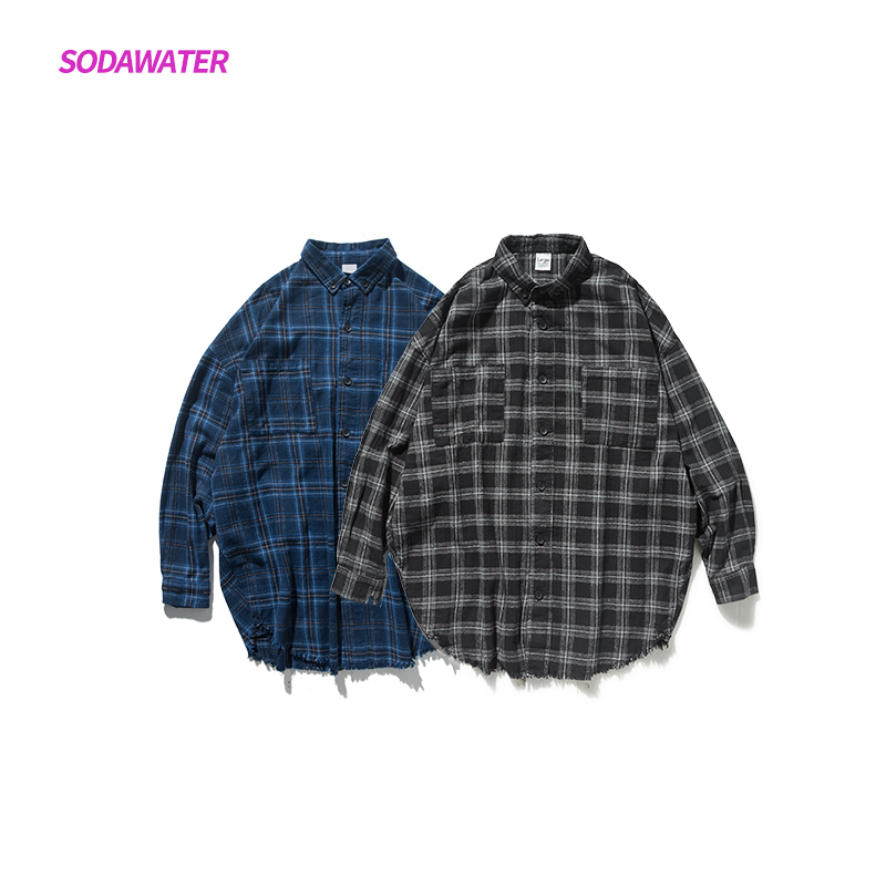 SODAWATER Girl Plaid Shirts Blouse Women Streetwear Oversize Long Sleeve Shirts 2019 Autumn Turn Down Collar Women Tops 004W17 in Blouses amp Shirts from Women 39 s Clothing