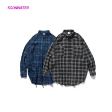 SODAWATER Girl Plaid Shirts Blouse Women Streetwear Oversize Long Sleeve 2019 Autumn Turn Down Collar Tops 004W17
