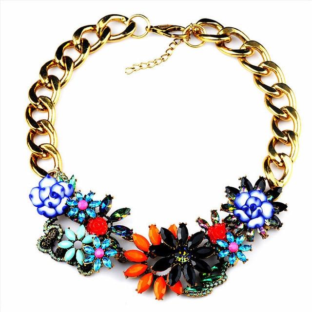 N00320 Hot Sale Fashion Unique Retro Romantic Gold Chain Big Chunky Flower Choker Maxi Necklaces Statement  jewelry women