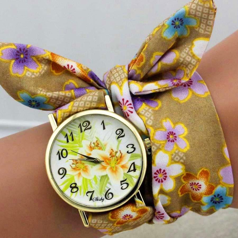 shsby dizains Sieviešu ziedu auduma rokas pulkstenis zelta modes - Sieviešu pulksteņi - Foto 6