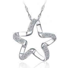 Women Star Necklace Pendant Fashion Jewelry 925 Serling Silver Link Chain with Full Pave Setting Crystals Free Shipping(China)