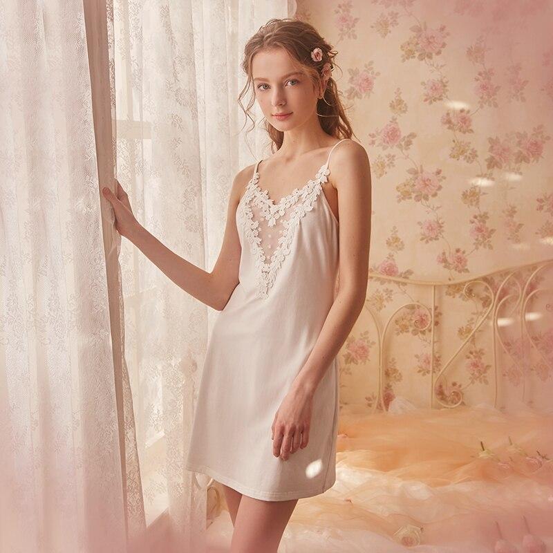 Free Shipping 2018 New Summer Women s Vintage Short Nightgown White Sleepwear Lace Sweet Slip Pijamas