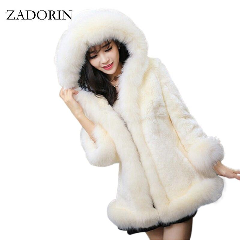 2019 Autumn Winter Fur Trim Hooded Faux Rabbit Fur Coat Women Warm Parka Faux Pink Fur Jacket Gilet Pelliccia Women Fur Coats