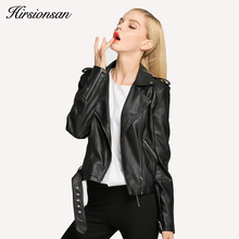 New Spring Fashion Faux Leather Oblique Zipper Jacket Turn-down Collar Long Sleeves Women's Popular Short Coat