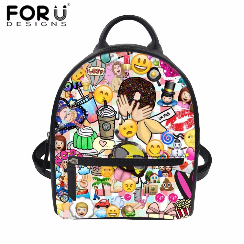 faa94f093780 FORUDESIGNS Women Leather Backpack Funny Emoji Face Print PU Rucksack Kids  Mini School Backpack Teenager Girls Daily Daypack New-in Backpacks from  Luggage ...