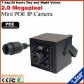Frete grátis! HD 1080 P POE IP Mini Câmera de Segurança 10 pcs IR LED Day & Night CCTV Rede Onvif câmera do telefone móvel de monitoramento vista