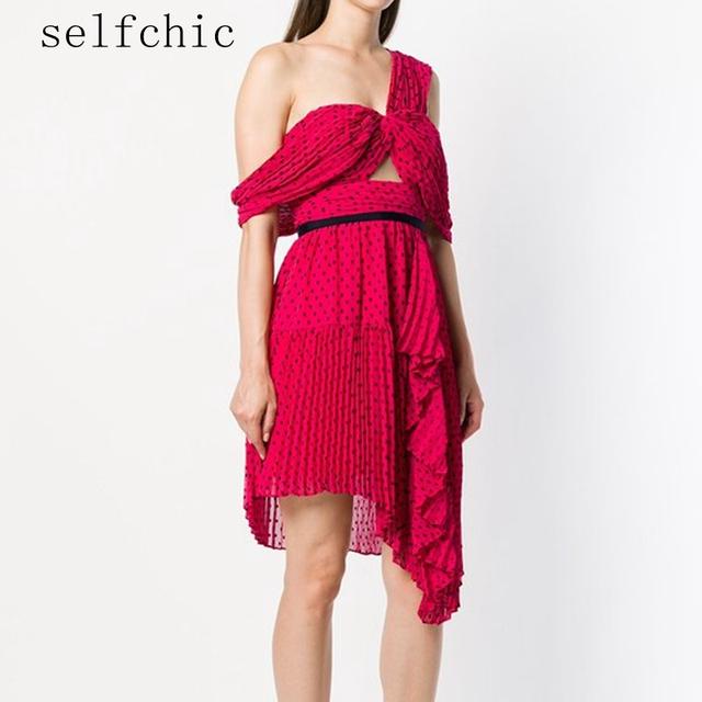 Self Portrait Party Dress Designer 2020 Summer Office Women Sexy Cold Shoulder Red Backless Dresses