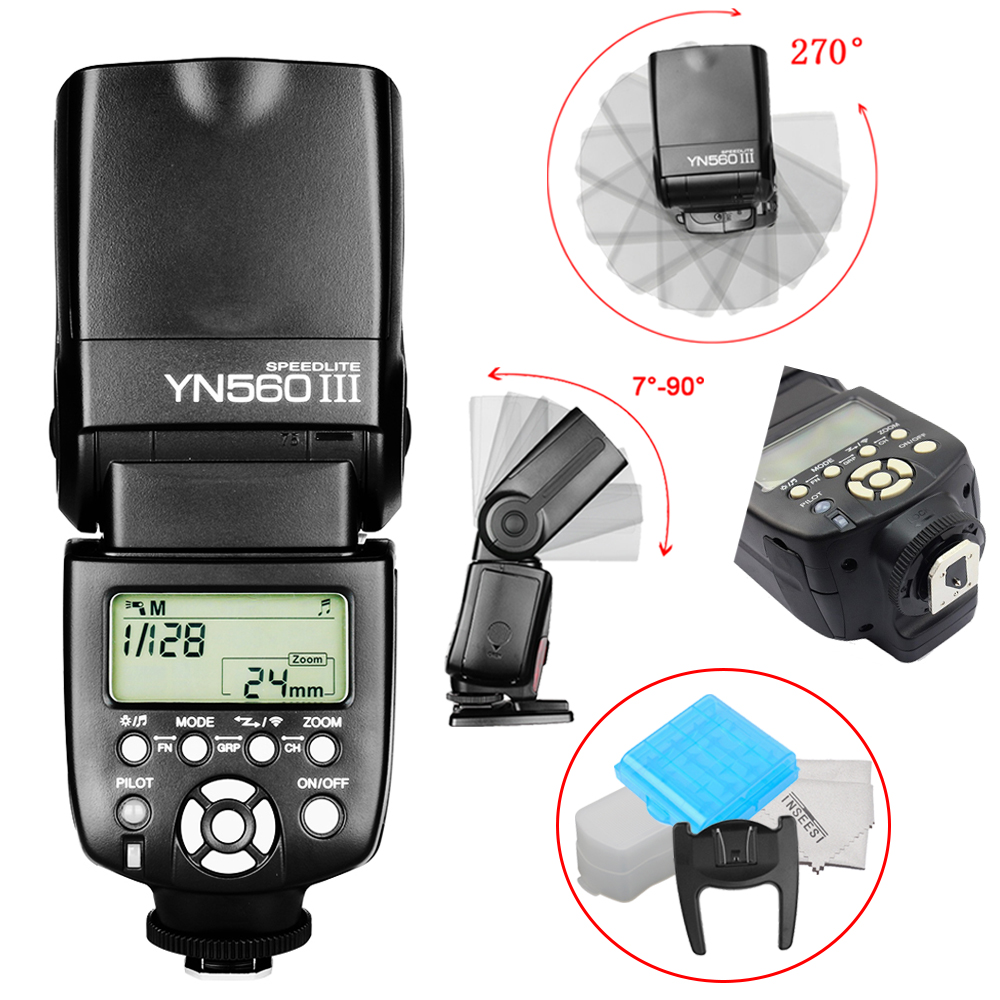 Professional Wireless Flash Speedlite Yongnuo YN-560 III Light With Integrated 2.4-GHz Receiver For Canon Nikon Pentax Olympus selens seven color speedlite filter honeycomb grid with magnetic rubber band for yongnuo canon nikon flash accessories kit