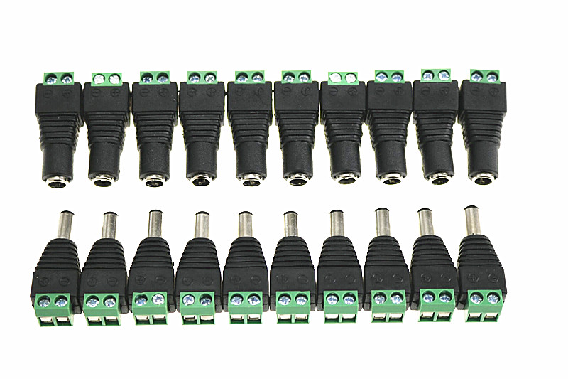 10 PAIRS 12V Male+<font><b>Female</b></font> 2.1x5.5MM <font><b>DC</b></font> Power Jack Plug Adapter <font><b>Connector</b></font> for CCTV Camera Green image
