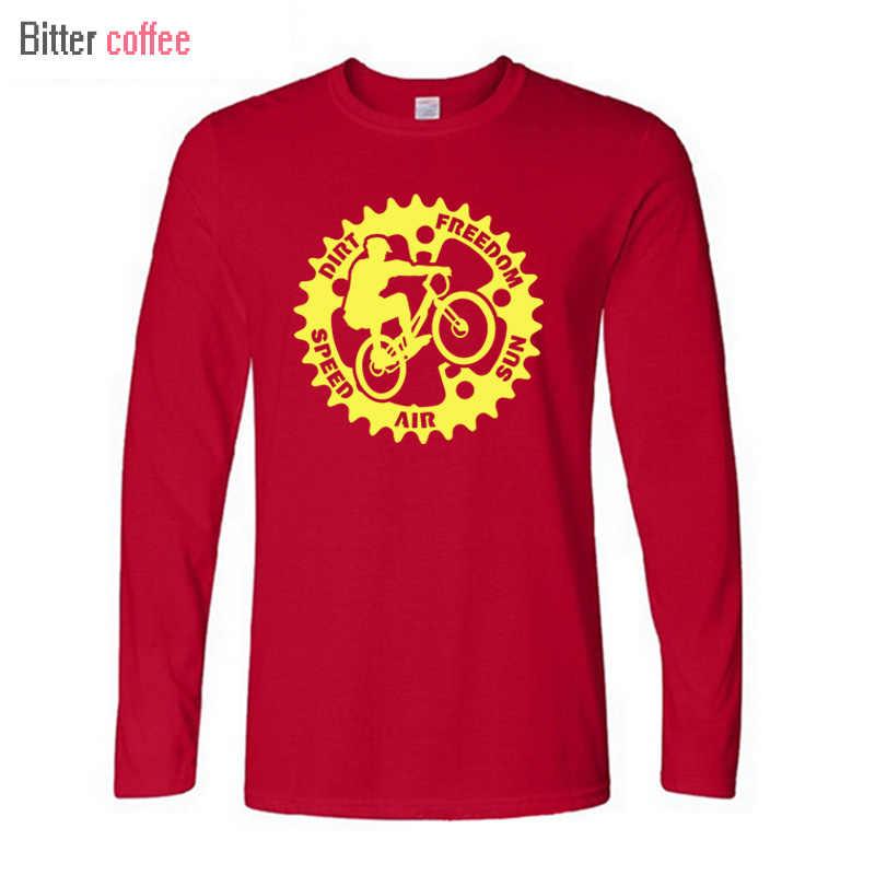 קפה מר אופני הרים מועדון גברים טי חולצה Mountainbike בגיל ההתבגרות צווארון עגול ארוך שרוול חולצות מודפס זכר חולצת t חולצה