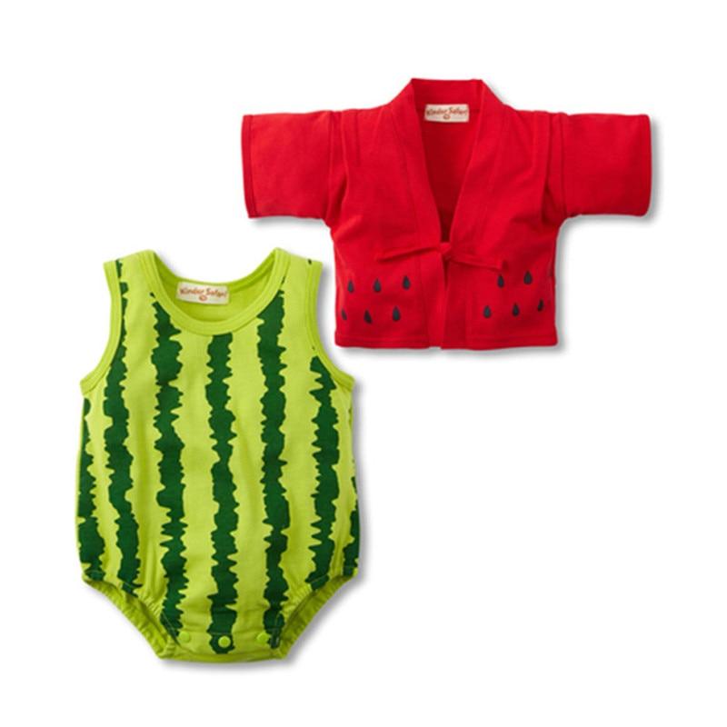 2pcs/set Summer Kimono Newborn Baby Clothes Fruit Strawberry Watermelon Baby Romper Suit Infant Clothing Sets Baby Jumpsuit creative strawberry style fruit picks forks 10 fork set