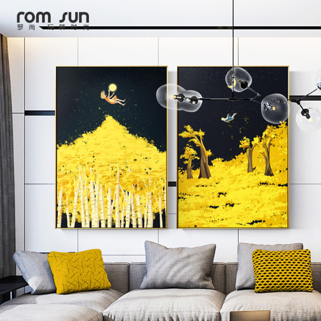 Nordic The Little Prince Wall Pictures Dancing Canvas Painting dark ...