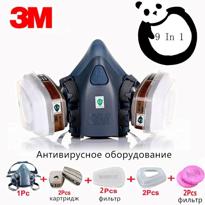 Masque de peinture en poussière gaz, 9 en 1 3M 7502 6001 masque médical industriel Protection des pesticides en aérosol