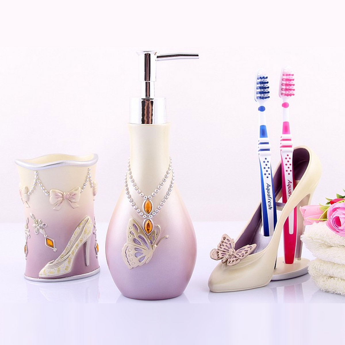 Beau High Heels 5pcs Bathroom Accessories Set Modern Toothbrush Holder Lady Bath  Sets Soap Holder Lotion Dispenser In Bathroom Accessories Sets From Home ...