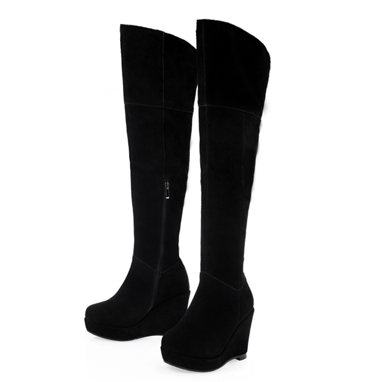 ФОТО Free shipping 2017 autumn women's Full Grain Leather over the knee wedges boots platform nubuck leather Riding boots for women
