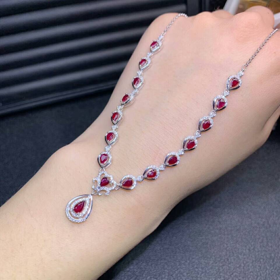 925 Silver Natural Ruby Drop Necklace Pendant Chain Women Fashion Jewelry