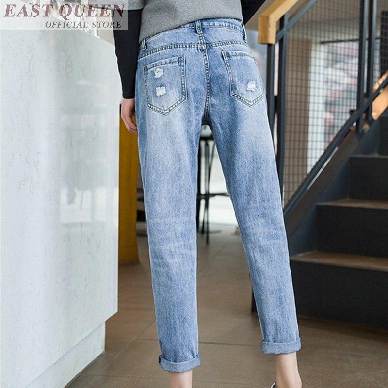 Mediados Moda Las 1 Dd569 Mujeres Suelta Oficina Cintura De Pantalones Tobillo Mujer Denim Para Novios Vaqueros Rasgada longitud Agujeros L Jean S6ngapS