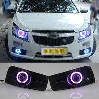 Ownsun COB Ангел глаз Кольца объектив проектора с 3000 К галогенная лампа источник черный Противотуманные фары бампера для Chevrolet cruze