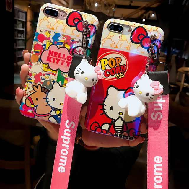 f44421780 For iPhone 7 7plus Hello kitty case, Cute KT Soft back cover For iPhone X 7  7plus 6 6S 6Pplus phone cover + toy stander +Strap