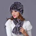 2016 Real Rex Rabbit Fur Scarf and Hat Set Elegant Warm Women Fur Free Shipping Cap Genuine Winter Set