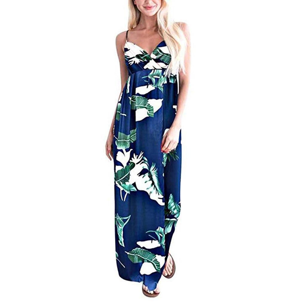 100% Vrai Femmes Imprimé Floral Col En V Profond Robe été Sexy Sangle Dos Nu Plage Fête Robes Longues Lâche Confort Pour Plein Air #2