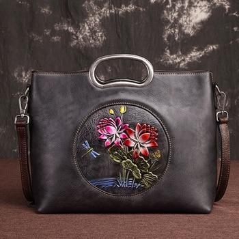 Vintage Cowhide Tote Bags Female Handbag Embossed Floral Pattern Large Capacity Genuine Leather Messenger Shoulder Women Bag