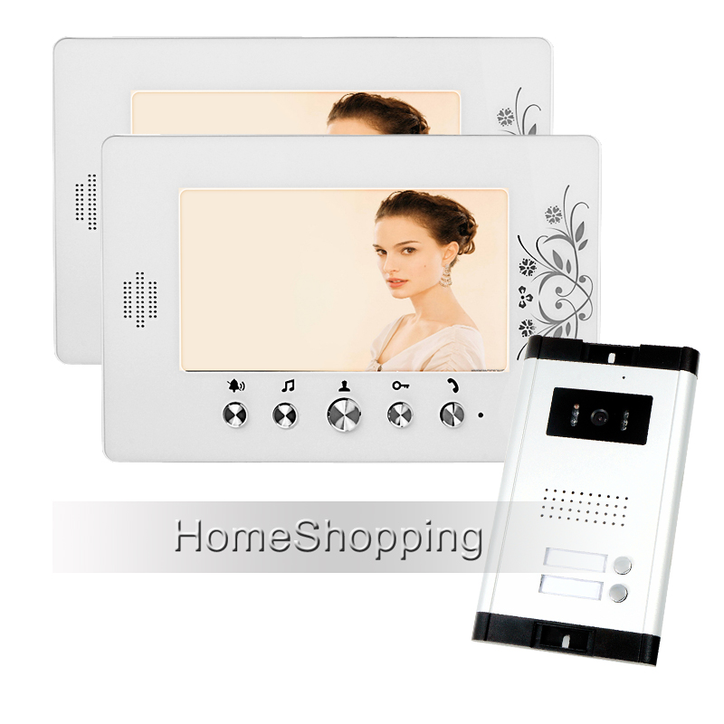 Wholesale Apartment 7 Video Intercom Door Phone Entry System + 2 White Monitors + 1 Doorbell Camera for 2 House FREE SHIPPING видеорегистратор mio mivue 788