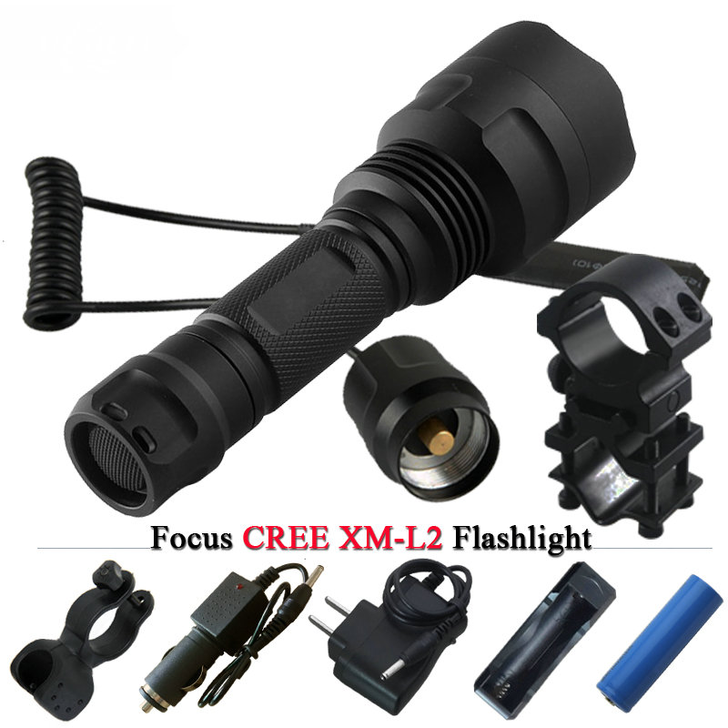 Tactical flashlight led torch CREE XM L2 Waterproof flash light 18650 Rechargeable battery Tactical frame Tail switch