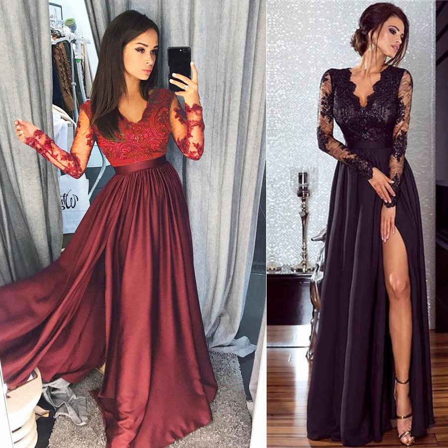 Women Lace Long Sleeve V Neck Dress Evening Party Ball Prom Gown Formal High Waist Maxi Dress